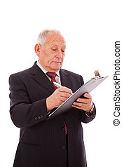 senior businessman writing in some paper clipboard isolated...