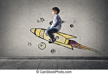 Boy on space ship - Boy on illustrated space ship