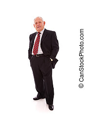 Senior businessman smiling (isolated on white)