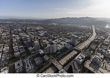Ventura Freeway and Glendale California Aerial