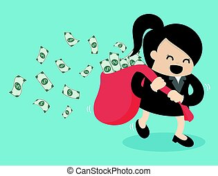 business woman run hold money sack