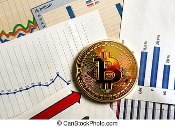 bitcoin crypto currency diagram - A golden bitcoin on graph...