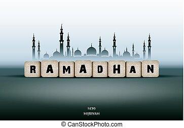 Ramadan Kareem greeting card with text Ramadan and mosque -...