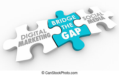 Bridge the Gap Digital Marketing Social Media Puzzle 3d Illustration