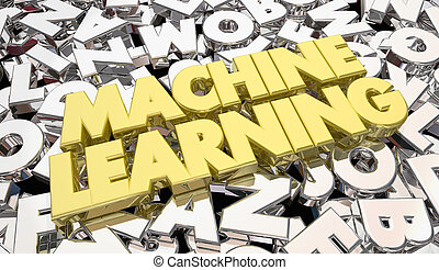 Machine Learning Letters Words Artificial Intelligence 3d Illustration