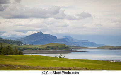Trotternish panorama from a distance on the Isle of Skye, Scotland