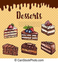 Vector waffle poster with dessert cakes and pies - Bakery...
