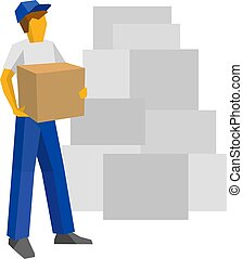 Delivery man in blue uniform holding carton box
