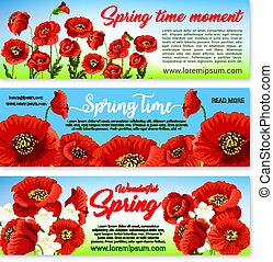 Vector floral banners for spring holiday greetings - Happy...