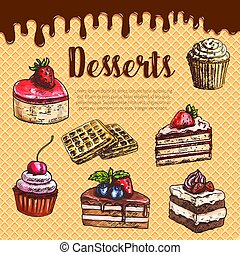 Vector waffle poster with dessert cake pies - Desserts and...