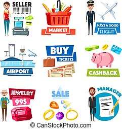 Vector items of selling, jewelry, finance industry - Shop...
