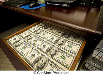 Drawer Full of Money - A Desk Drawer Stacked High with...