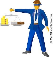 Man with balance, looks like god of justice. Law concept. -...