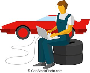 Car mechanic adjusts sportcar with laptop. Service station...