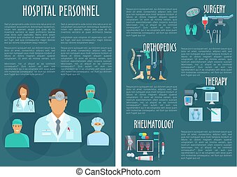 Hospital personnel medical doctors vector poster - Therapy,...
