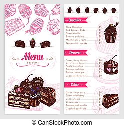 Vector pastry menu with dessert cakes and pies - Desserts...
