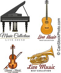 Vector icons set for music concert labels