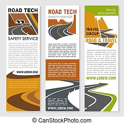 Vector banners of road safety construction company - Road...
