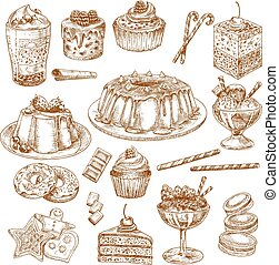 Vector sketch icons of cake desserts and pastry - Pastry...