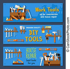 Vector banners of house repair work tools