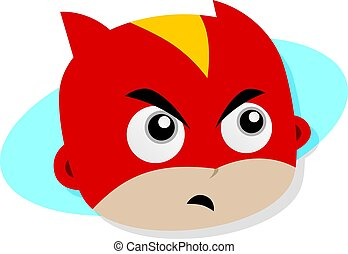 Adorable and amazing cartoon superhero head in classic expression