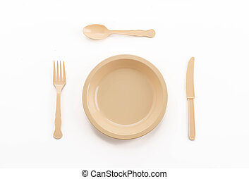 plastic plate spoon fork and knife