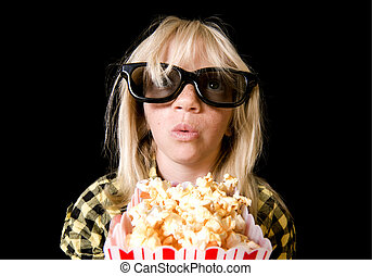 Young Girl at 3-D Movie - Girl Wearing New Style 3-D Glasses...