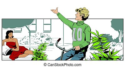 Boy on a Bicycle, riding in the yard. Stock illustration.