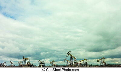 Working Oil Pumps at blue sky time lapse