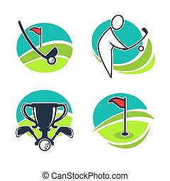 Golf labels collection with equipments and prizes. Vector...