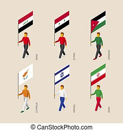 Isometric people with flags Iraq, Iran, Jordan, Syria, Cyprus, Israel