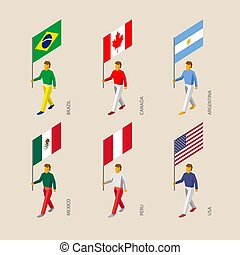 Isometric 3d people with flags. Canada, USA, Argentina, Peru, Brazil, Mexico