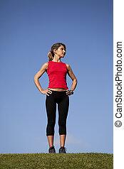 Sport woman at the field - sport woman at the field enjoying...