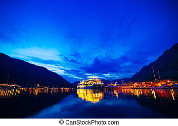 Cruise liner in the Boka Bay of Kotor in Montenegro at...