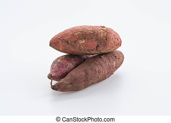Cassava on white background