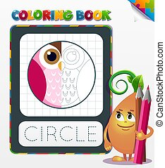 Coloring book circle geometric form - Half colored geometric...