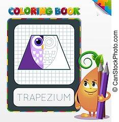 幾何學, 著色, 形式, 書, 梯形
