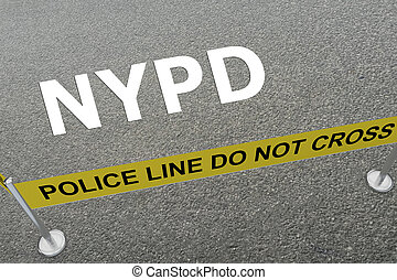 NYPD - police concept - 3D illustration of 'NYPD' title on...