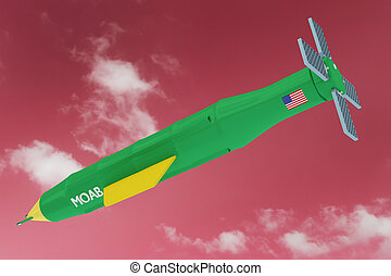 MOAB Mother Of All Bombs In Red Sky Illustration - 3D Render...