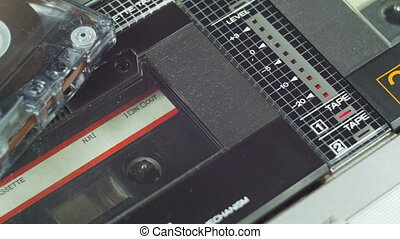 Playing an Audio Cassette in a Retro Tape Recorder....
