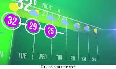 Abstract infographics of Weather forecast concept on a green...
