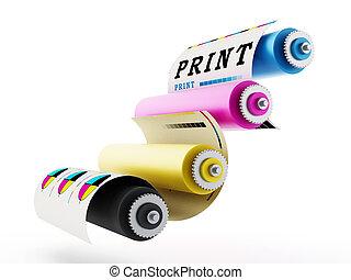 CMYK Printing press with test print. 3D illustration.