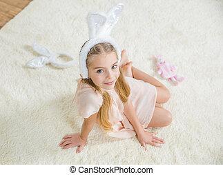 Girl in bunny ears - Beautiful little girl in bunny ears...
