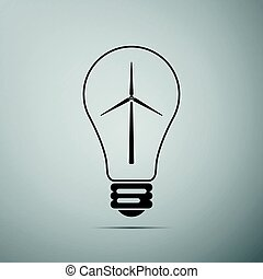 Light bulb with a wind turbines as idea of eco-friendly source of energy flat icon on grey background. Vector Illustration
