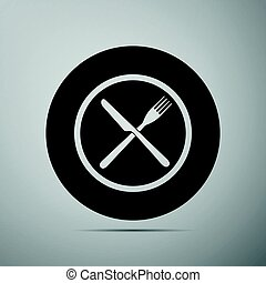 Restaurant icon. Crossed fork and knife flat icon on grey background. Vector Illustration