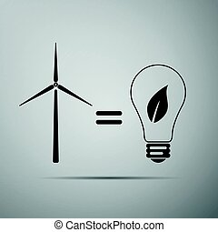 Wind turbine and bulb with leaves as idea of eco-friendly source of energy flat icon on grey background. Vector Illustration