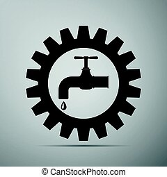 Gearwheel with tap sign as plumbing work logo flat icon on...