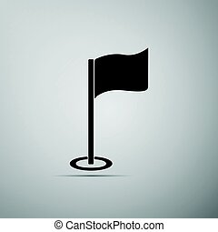 Golf flag icon on grey background. Adobe illustrator