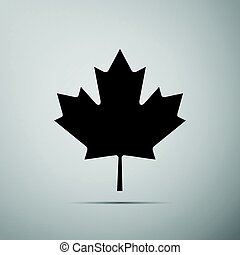 Canadian Maple Leaf icon on grey background. Adobe...