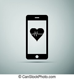 Smartphone with heart rate monitor function on grey...